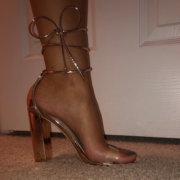 Gold Lace Up Heels With Clear Toe Strap